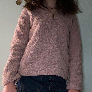 Teddy Quarter-Zip Blush Pink Pullover - XS